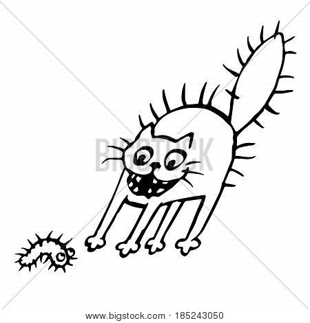 The cat was scared of a larva. Vector illustration. Cheerful pet and funny bug.