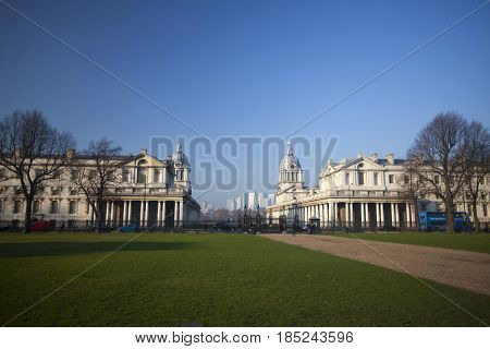 Greenwich, London, UK - 22 January 2017: Royal Naval College and the National Maritime Museum in Greenwich, London