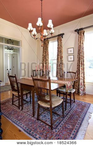 luxurious diningroom with lit candles