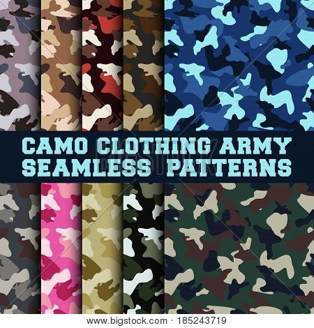 10 camouflage clothing army seamless patterns. Set of military camo various color combination. Vector illustration.