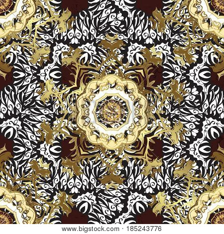 Golden pattern. Vector oriental ornament. Pattern on brown background with golden elements.