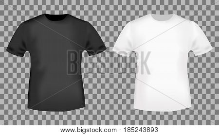 Black and white t-shirt template. Blank front view t shirt mockup design. Vector illustration.