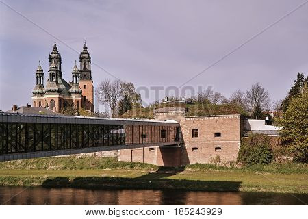 Prussian fortifications and towers of the Gothic cathedral cathedral in Poznan