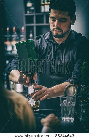 Bartender Is Serving Cocktai