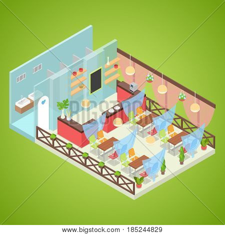 Summer Cafe Interior Design. Fast Food Outdoor. Isometric vector flat 3d illustration