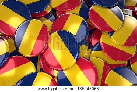 Chad Badges Background - Pile Of Chadian Flag Buttons.
