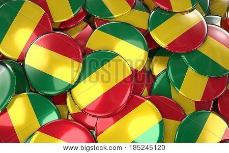 Bolivia Badges Background - Pile Of Bolivian National Flag Buttons.