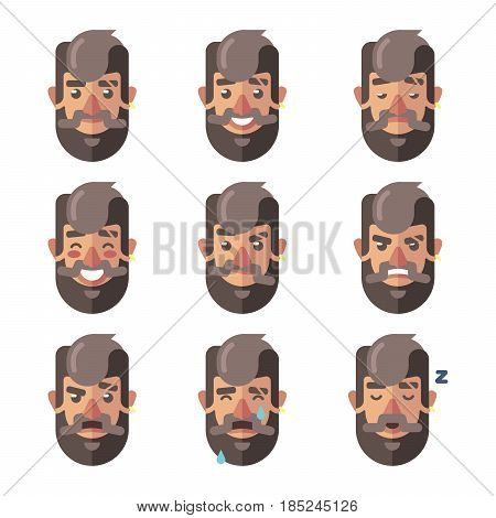 Bearded Hipster Man Facial Expressions. Male Character Emotions. Vector cartoon illustration