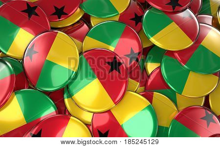 Guinea-bissau Badges Background - Pile Of Bissau-guinean Flag Buttons.