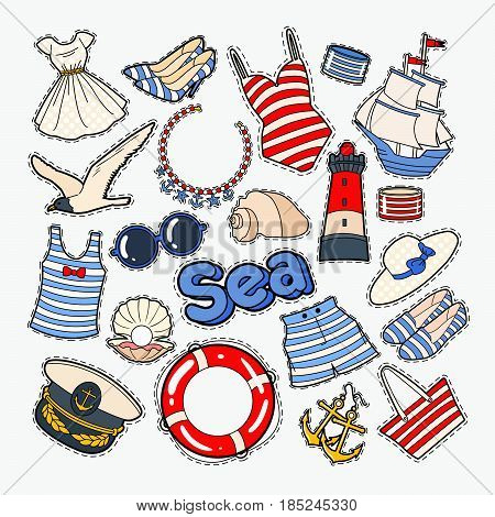 Beach Summer Woman Clothes and Accessories. Sea Vacation Badges, Patches and Stickers. Vector doodle