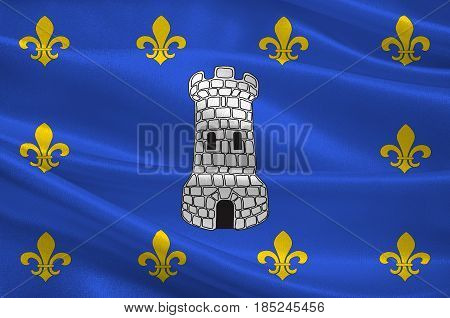 Flag of Sens is a commune in the Yonne department in Bourgogne-Franche-Comte in north-central France. 3D illustration
