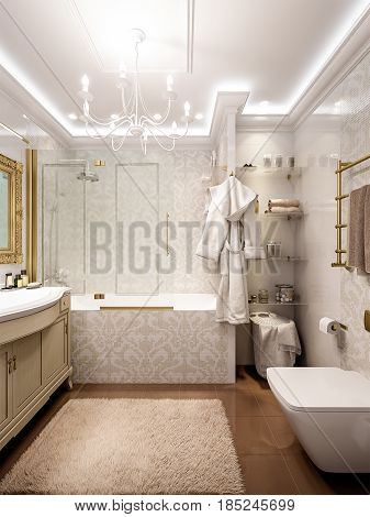 Luxurious bathroom in classic style interior design with white mosaic and big chandeliers. 3d render