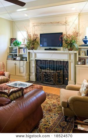 comfortable living room with fireplace and plasma tv