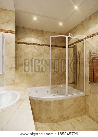 Modern Urban Contemporary Bathroom Interior Design with Beige Marble Tiles and Mosaic. 3d rendering