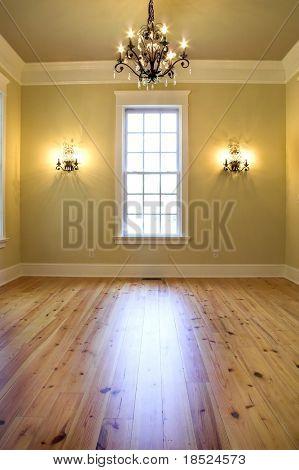 empty elegant diningroom or bedroom with chandelier