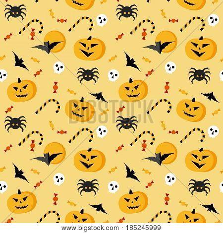 Seamless halloween vector pattern. Yellow texture with traditional horror elements: pumpkins, bats, sculls, spiders and candies. Simple geometric style clip art.