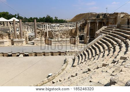 The ancient city of Beit She'an is located in the north of Israel in the Jordan Valley