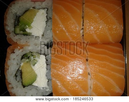 Sushi - traditional Japanese dishes made from rice, processed rice vinegar or salt, and a variety of toppings or layers, which are dominated by seafood, vegetables, seaweed