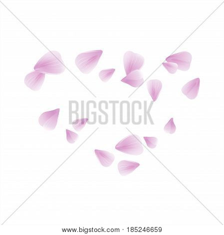 Flowers design. Flowers petals. Abstract background with flying pink, purple rose petals. Vector illustration isolated on white background. Petals Heart. EPS 10 cmyk