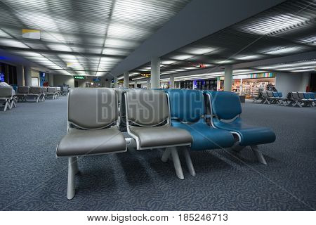 19 April 2016, Bankok, Thailand. Bench in the hall of Thailand airport