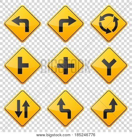 Road signs collection isolated on white background. Road traffic control.Lane usage.Stop and yield. Regulatory signs. Curves and turns.