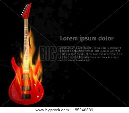 Guitar in fire on black grunge background. Poster for a rock concert. The concept of design with a musical instrument.