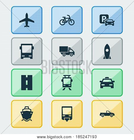 Transportation Icons Set. Collection Of Bicycle, Cab, Streetcar And Other Elements. Also Includes Symbols Such As Omnibus, Tram, Flight.