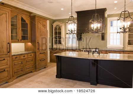 luxurious kitchen with custom cabinets