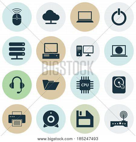 Computer Icons Set. Collection Of Web, Personal Computer, Database And Other Elements. Also Includes Symbols Such As Folder, Cpu, Wifi.
