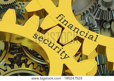 Financial Security concept on the gearwheels 3D rendering