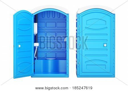 Opened and closed mobile portable blue plastic toilets 3D rendering