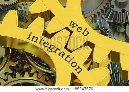 web integration concept on the gearwheels 3D rendering