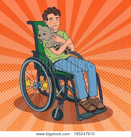 Disable Child. Handicapped Boy Sitting in Wheelchair. Pop Art vector illustration