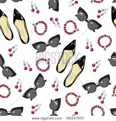 A pattern of black women shoes and accessories on a white background.