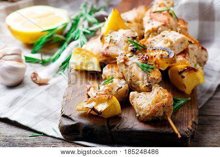 Chicken Souvlaki with lemon .style rustic.selective focus