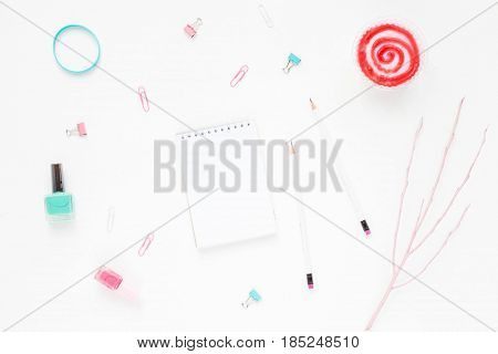 Colorful Workspace With Polish, Pink And Turquoise Woman's Accessories, Notebook, Pencil And Pink Mi