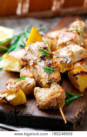 Chicken Souvlaki with lemon. style rustic.selective focus
