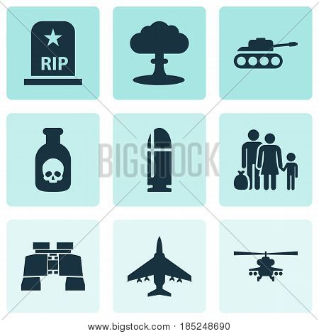 Battle Icons Set. Collection Of Glass, Atom, Slug And Other Elements. Also Includes Symbols Such As Binoculars, Fighter, Helicopter.