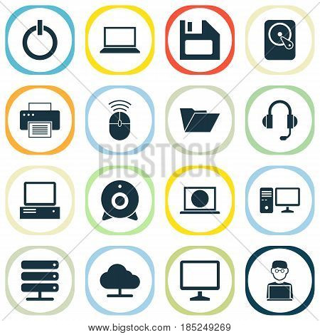Laptop Icons Set. Collection Of Broadcast, Desktop, Monitor And Other Elements. Also Includes Symbols Such As Button, Diskette, Programmer.