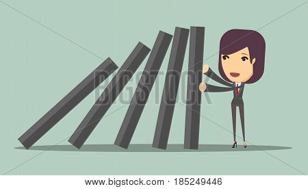 businesswoman stopping the domino effect with falling dominoes. Stock vector illustration for poster, greeting card, website, ad, business presentation, advertisement design.