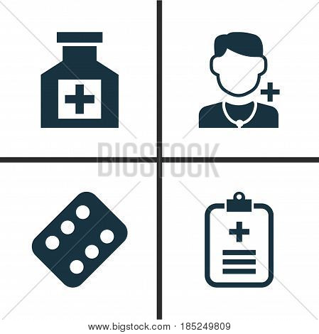 Antibiotic Icons Set. Collection Of Analyzes, Physician, Painkiller And Other Elements. Also Includes Symbols Such As Analyzes, Reliever, Data.