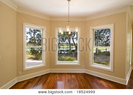 unfurnished diningroom with waterfront view, place your own furniture