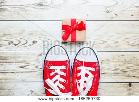 Red Gumshoes And Cute Gift