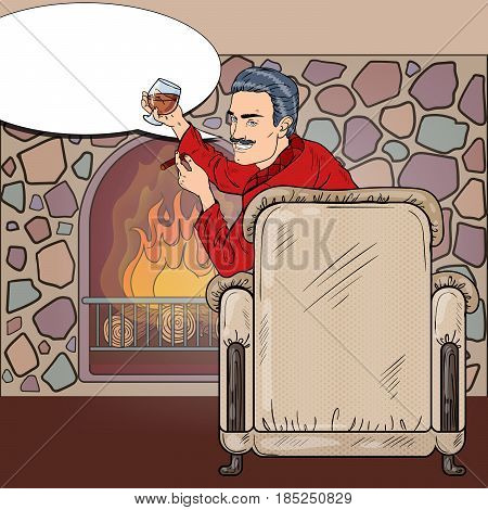 Rich Man in Chair with Cigar Drinking Wine near Fireplace. Pop Art vector illustration