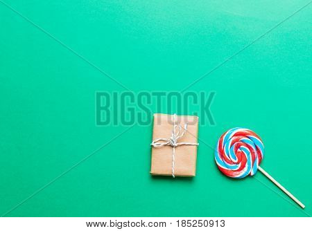 Colorful Lollipop And Gift