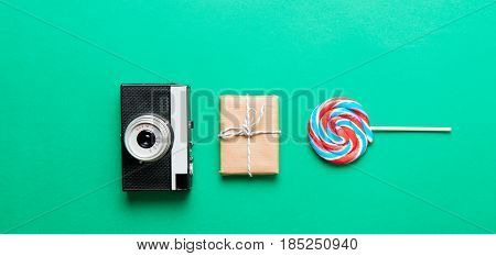 Camera, Gift And Lollipop