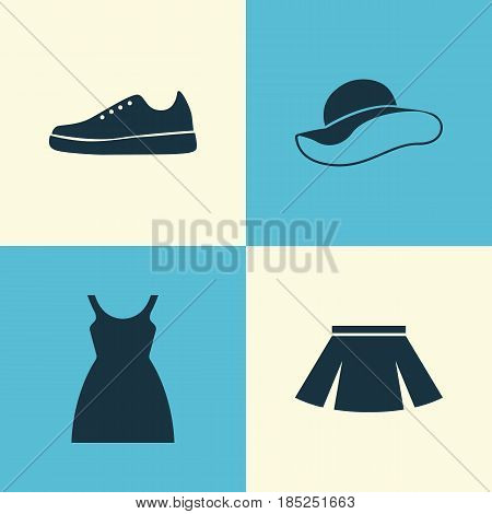 Dress Icons Set. Collection Of Sneakers, Dress, Stylish Apparel And Other Elements. Also Includes Symbols Such As Dress, Gumshoes, Elegant.