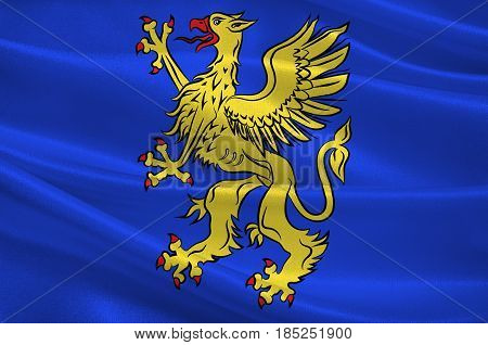 Flag of Saint-Brieuc is a commune in the Cotes-d'Armor department in Brittany in northwestern France. 3D illustration