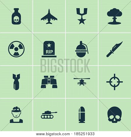 Battle Icons Set. Collection Of Cranium, Atom, Target And Other Elements. Also Includes Symbols Such As Dynamite, Scalper, Chopper.