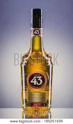 Licor 43 on gradient background. It is Spanish liqueur made from citrus and fruit juices, flavored with vanilla and other herbs and spices for total 43 different ingredients